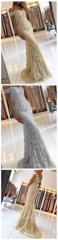 Mermaid Prom Dresses Long, Off-the-shoulder Formal Dresses Lace, 2018 Party Dresses Tulle Modest, Sexy Evening Dresses Simple