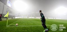 FC Astra v Celtic, November 6, 2014. Stefan Johansen prepares to take a corner