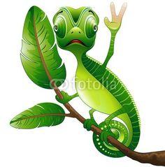 Funny Chameleon-Vector © bluedarkat