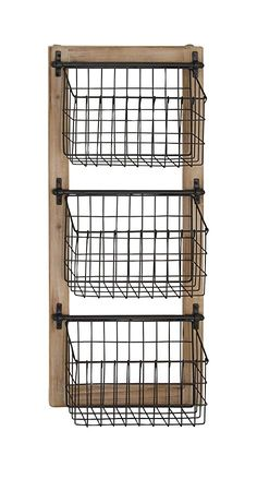 Decmode Industrial Wood and Iron Basket Wall Rack, Black Home Decor Kitchen, Home Kitchens, Diy Home Decor, Country Kitchen, Modern Kitchens, Room Decor, Wire Baskets, Baskets On Wall, Bathroom Wall Baskets