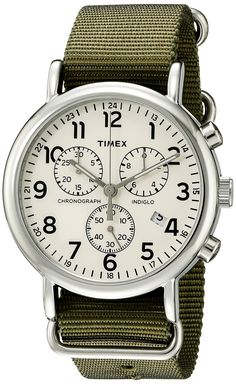 Timex Unisex Weekender Chrono Cream/Blue Double-Layered Nylon Slip-Thru Strap Watch - You just found the only watch you'll ever need. A timeless chronograph that let's you change up leather and nylon straps for the season, the occasion or even your mood. Sport Watches, Cool Watches, Watches For Men, Wrist Watches, Timex Watches, Men's Watches, Nato Strap, Unisex, Watches Online