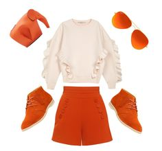 """""""All Orange"""" by mali-likes ❤ liked on Polyvore featuring Finders Keepers, STELLA McCARTNEY, Clarks, Loewe and Ray-Ban"""
