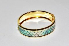 Joan Rivers Hinged Bangle Blue Python Embossed by SCLadyDiJewelry