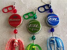 Stocking Stuffer for Men made with recycled bottle caps and pull tabs and designed to catch fish!..Request your favorite brands!