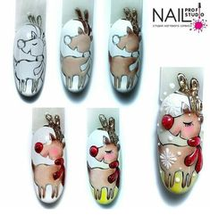 so cute! Xmas Nails, Holiday Nails, Fun Nails, Christmas Nail Art, Christmas Design, Lily Nails, Animal Nail Art, Fabulous Nails, Beauty Bar