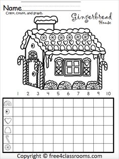 Free Gingerbread House Math Graphing Activity For Kindergarten Graphing Worksheets, Graphing Activities, Kindergarten Activities, Classroom Activities, Numeracy, Christmas Worksheets For Kindergarten, Counting Worksheet, Hansel Y Gretel, 1st Grade Math