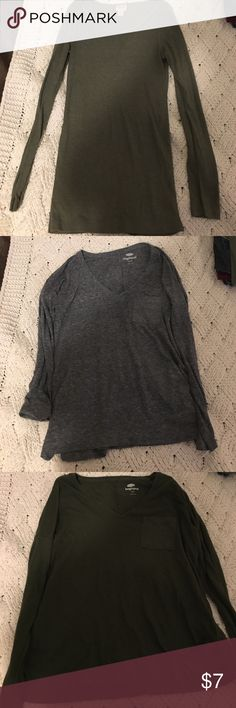 Comfy long sleeve shirts (all 3 sold together) Selling all three of these together just to get rid of them! All comfy and lightly worn. First green shirt is a medium, grey is xs and last green is a small. First one from target and it's long so I wear is as a dress sometimes. Others from old navy Tops Tees - Long Sleeve