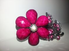 Ring Flower Ring Fushia Flower Ring Large by SuzyQsVintageShop, $8.75