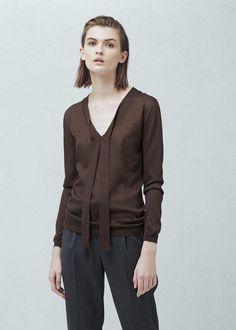 Sweter wiązany przy szyi - Kardigany i swetry dla Kobieta   MANGO