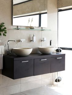 Free-standing basins provide space for a wall mounted vanity and create the illusion of Decor, Interior Decorating, Timeless Bathroom, Small Spaces, Interior, Wall Mounted Vanity, Home Decor, Bathroom, Bathroom Cleaning