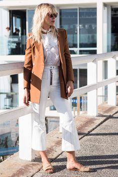 INSTANT POLISH Slip a neutral blazer over white separates for a look that means business