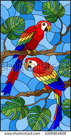 Encontre vetores stock de Illustration in stained glass style with pair of birds. - Encontre vetores stock de Illustration in stained glass style with pair of birds parakeet on branch - Stained Glass Quilt, Faux Stained Glass, Stained Glass Designs, Stained Glass Panels, Stained Glass Patterns, Glass Painting Patterns, Glass Painting Designs, Paint Designs, Mural Art