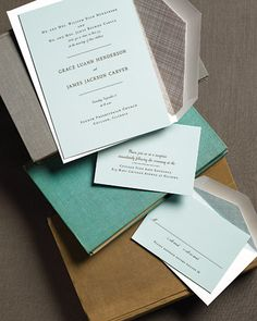 Clean and Modern Wedding Stationery    Here, subtle color kicks classic up a notch. This all-text engraved invitation feels fresh and cool in a wash of robins's-egg blue, and the simple charcoal-gray typography carries through to the reception and reply cards for a refined and unified look. The modernized wording identifies both sets of parents hosting a somewhat less formal event as they invite guests to share in their mutual joy. Dominique invitation by Haute; we lined the white envelopes b...