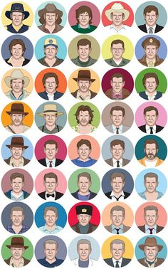 Illustrations of Harrison Ford in every role he's done