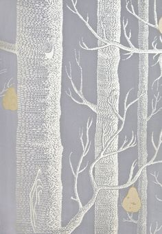 Woods & Pears Wallpaper A re-worked classic contemporary battleship grey wallpaper with the addition of gilver metallic pears on silver metallic illustrated winter trees. used this in mulkerys office, amaz! Grey Pattern Wallpaper, Silver Grey Wallpaper, Wood Wallpaper, Chevron Wallpaper, Wallpaper Ideas, Classic Home Decor, Classic House, Grey Feature Wall, Cole And Son Wallpaper