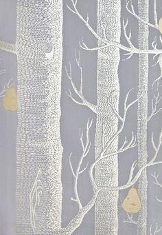 Siniharmaa puu-tapetti, rauhallinen sävy.