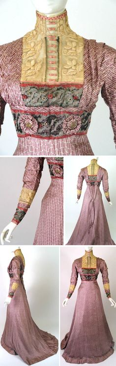 Circa 1910 Day dress by J. Franken, Brooklyn. Mauve and white silk print. Yoke inset in ivory crewel-embroidered net with standup collar & chiffon ruffle. Rose-colored silk ribbon edges neckline w/tiny bows in front. Pleats from shoulders to front & back midriff beneath wide embroidered yoke. Large buttons front and back; gold embroidered stars in each center. Ivory lace border at forearm and wrists. Back buttons w/ribbons and silk medallion tassels. Via Vintage Martini.