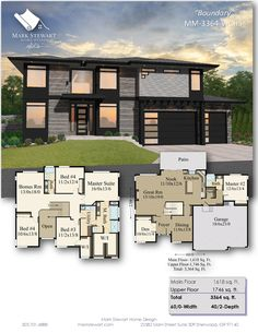 Northwest modern style combines natural materials with sleek modern lines, giving you a house plan with timeless good looks and a layout that just works. 3d House Plans, Modern House Floor Plans, House Plans Mansion, Cottage Floor Plans, Contemporary House Plans, House Blueprints, Dream House Plans, Home Design, Sims House Design