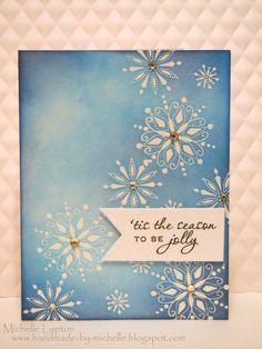 handmade card ... emboss/resist ... white snowflakes ... blues sponged on and around ... beautiful!!