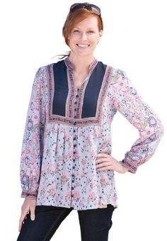 Woman Within Plus Size Blouse In Mixed Print With Pretty Details And Shirring (Dark Navy Print,2X)