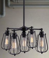 BLACK METAL HANGING CHANDELIER LIGHT FIXTURE MODERN ERA RUSTIC INDUSTRIAL STYLE