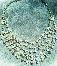 Colorful six rows rough diamond necklace , time to rock the red carpet! :) #luxury #art
