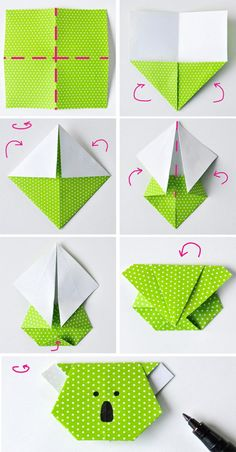 How to get children folding EASY ORIGAMI TULIPS. A great starting origami with only a few steps. Origami is a … Origami Koala, Dragon Origami, Design Origami, Instruções Origami, Origami Star Box, Origami And Kirigami, Origami Bookmark, Origami Folding, Paper Crafts Origami