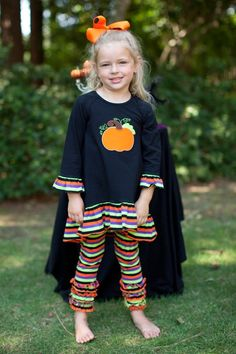 Southern Tots Black Stripe Pumpkin Applique Halloween High-Low Top