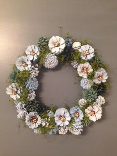 Blue Daisy Pine Cone Wreath