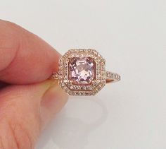 Ascher Cut Rose Pink Champagne Spinel 14k Rose Gold Double Diamond Halo Engagement Ring Morganite $1690