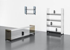 ÉCAL graduate Vincent Dechelette shared his newly-designed family of shelves, perfect for the home and office. The result of a year spent studying the extrusion of aluminum, the Bill shelves come in varying lengths with interchangeable side paneling in aluminum sheet or tempered smoked-glass.