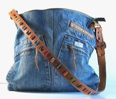 weekender bag from upcycled denim and leather jacket