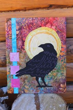 Crow art quilt by Beret Nelson | On The Trail Creations