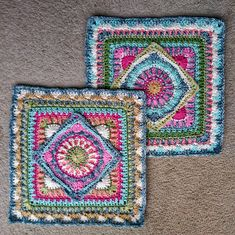 Crochet Granny Square Patterns Ravelry: The Jackfield Tile Square pattern by Christine Bateman - Granny Square Crochet Pattern, Crochet Blocks, Crochet Squares, Crochet Blanket Patterns, Crochet Granny, Crochet Motif, Crochet Afghans, Knitting Patterns, Knit Crochet