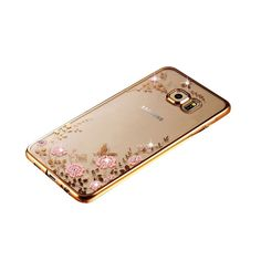 New Luxury Secret Garden Flowers Rhinestone Cell Phone Cases For Samsung Galaxy S6 S7 S7 Edge Women Plating Rose Gold Case Cover