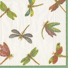 Caspari Dragonflies Insect Printed 3-Ply Paper Cocktail Napkins Wholesale 9860C