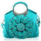 Handbag for Women's Purse Turquoise Tote for Women Floral Aqua Blue Pu
