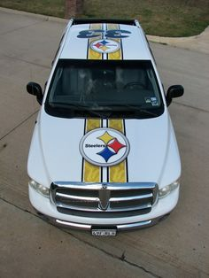 Vehicle wraps. Steelers truck. Be sure to call to get your truck to look like this.