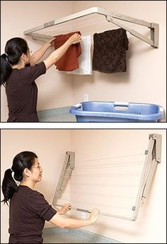 Maybe this would be the best option? Seem accessible over the cabinet…could likely fit 2 across… Folding Drying Rack – Gardening Source by andrewsimmers