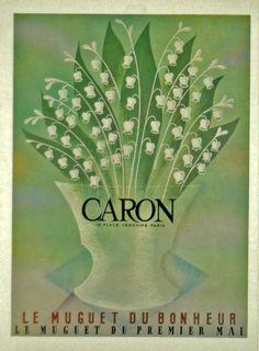 Affiche Caron Le Muguet du Bonheur - Parfum - 1930 -