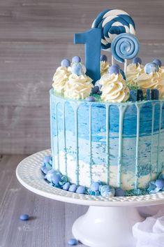 Birthday Drip Cake, Blue Birthday Cakes, Baby First Birthday Cake, Birtday Cake, Boys Bday Cakes, Blue Drip Cake, Daisy Cakes, Chocolate Drip Cake, Naked Cake