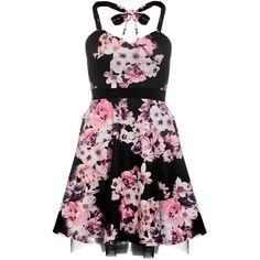 Dorothy Perkins **Quiz Flower Print Halterneck Dress ($39) ❤ liked on Polyvore featuring dresses, black, floral halter top, halter neckline dress, skater dress, halter dress and halter top