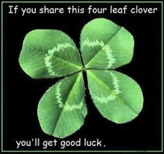 If you share this four leaf clover, you'll get good luck.