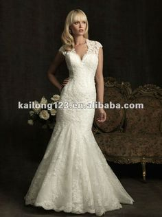 Elegant Cap Sleeve Mermaid Trumpet Chapel train Lace Organza Open Back Wedding Dresses—$193. http://www.aliexpress.com