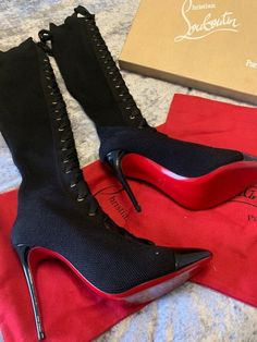 Christian Louboutin Frenchie Over The Knee Boot size 38 WORN ONCE! #shoes #designer Embellished Sandals, Studded Sandals, Ankle Strap Sandals, Leather Sandals Flat, Brown Leather Sandals, Christian Louboutin Sandals, Designer Heels, Loafers For Women, Over The Knee Boots