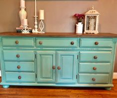 Refurbished Furniture for Outdoors Turquoise Bedroom Decor, Turquoise Painted Furniture, Turquoise Paint Colors, Turquoise Dresser, Blue Dresser, Turquoise Dining Room, Colorful Dresser, Diy Furniture Projects, Recycled Furniture