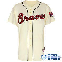 Atlanta Braves MLB Majestic Men's Ivory Authentic On-Field Cool Base Jersey Beige Baseball Tips, Braves Baseball, Baseball Jerseys, Sports Jerseys, Chipper Jones, Atlanta Braves, Mlb, Mens Tops, Shopping