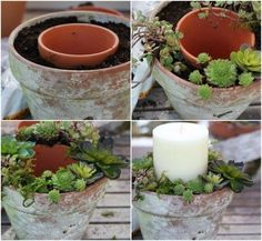 Macetas suculentas y velas para centros de mesa para bodas en verano totalmente ecológicos. Trae la naturaleza a tu mesa y no tendrás que preocuparte por mantener las flores frescas.