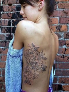 Uncolored Rose Side Tattoo for Women
