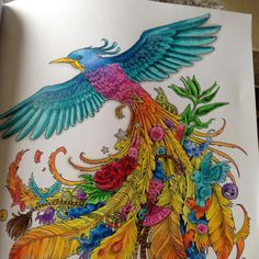 First #animorphia picture coloured it, I can see this book becoming an obsession, it's gorgeous. #animorphiacolouringbook  #polychromos #fabercastell #colouringin #bigkid